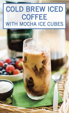 This Cold Brew Iced Coffee with Mocha Ice Cubes is one delicious breakfast hack that's almost too good to be true. Start with a standard cold brew coffee. Then, fill an ice cube tray with more coffee, cocoa powder, brown sugar. You'll love waking up every morning to this delicious coffee drink.