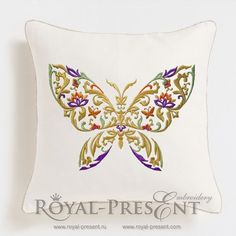 Machine Embroidery Design Decorative butterfly with mix of floral ornament elements - 3 sizes