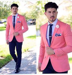Latest Coat Pants Designs Hot Pink Wedding Suits For Men Slim Fit 2 Piece Blazer Custom Groom Prom Tuxedo Jacket Men Masculino Z Dress Suits, Men Dress, Men's Suits, Traje Slim, Costume Africain, Terno Slim, Blazer Outfits Men, Pink Blazer Men, Man Style