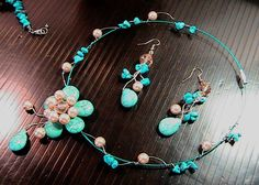Turquoise Jewellery – Pearls and Turquoise gems Set Jewelry – a unique product by CamelysUnikatBijoux on DaWanda