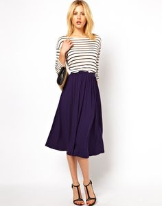 Full Midi Skirt and Striped Top