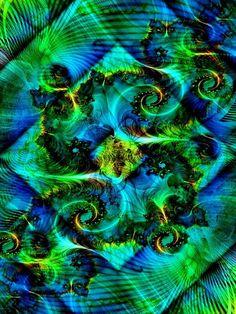 Green Fractal | Fractal green blue | Fantastic Fractals | Pinterest
