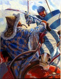 Battle of Liegnitz between German knight and Mongol horseman
