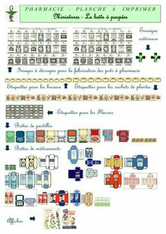 For my future mini pharmacy :-) Miniature Crafts, Miniature Dolls, Diy Dollhouse, Dollhouse Miniatures, Printable Labels, Printables, Diorama, Vitrine Miniature, Dollhouse Accessories