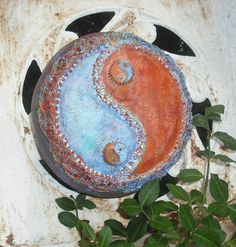 Gourd Blue and Rust Yin Yang Upcycled Wall Art by hungryholler, $135.00