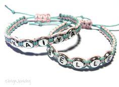 Name Bracelet, Little Girl Bracelet, Flower Girl Jewelry, Personalized Jewelry, Cord Bracelet, Friendship Bracelet, Macrame, Kids Jewelry by ElwynJewelry on Etsy https://www.etsy.com/listing/160077040/name-bracelet-little-girl-bracelet