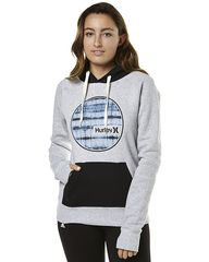HURLEY ECLIPSE WOMENS HOOD FLEECE - HEATHER WHITE WASH