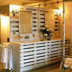 Pallets---oh my gosh...love love love this...gotta have sweetie do for bathroom.