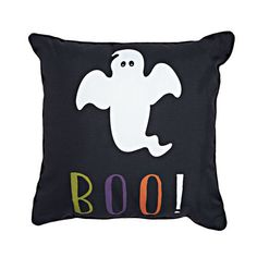 "Snuggle up with your Boo and this cute, Halloween pillow! Boo Ghost Pillow, 18"" x 18"""