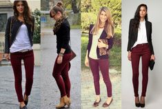 Brown Boats Outfit Winter Jeans Skinny 54 New Ideas Burgundy Pants Outfit, Burgundy Jeans, Office Outfits, Winter Outfits, Outfits Mujer, Work Jeans, Winter Fashion Casual, Boating Outfit, Feminine Fashion