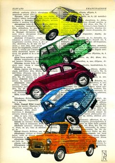Cars Original Mixed Media  Art Painting on by VincenzoRizzo, $9.00