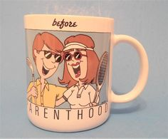 "ParentHood Ceramic Coffee Mug ""BEFORE & AFTER"" Humorous Couple~ Bright Graphic Art And Text Gag Baby Shower Gift ~Current, Inc 1996 Vintage"