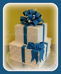 Sapphire Blue Wedding Cake With Bows   Flickr - Photo Sharing!