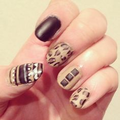 cheetah nails design nail art aztec design black nail polish #makeupbysehar