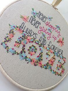 Always and forever love - negative space outlining with lazy daisies and French knots