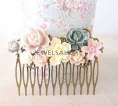 Blush Pink Hair Comb Wedding Hair Piece Bridal Hair Accessories Ivory Gray Bridesmaid Soft Pastel Colors Flower Pin Romantic Floral Comb