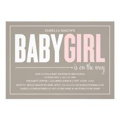 5 x 7 Baby Girl | Baby Shower Invite.  $2.05