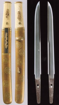 Tanto of the Kamakura period, signed Kunimitsu, sheath decorated with Tokugawa family Mon (crest)
