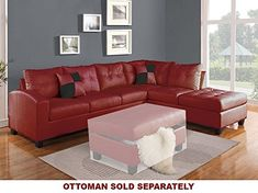 ACME Kiva Red Bonded Leather Reversible Sectional Sofa with 2 Pillows #leathersectionalsofas