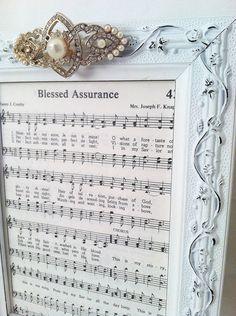 Vintage Hymnal Sheet Music Picture Frame with Vintage Brooch.