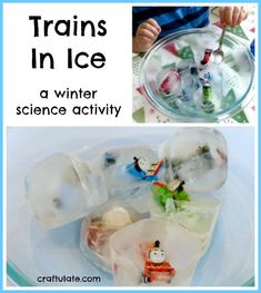 Trains In Ice - a winter science activity from Craftulate (preschool or kindergarten)