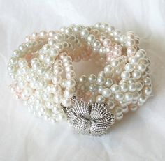 Vintage Braided Pearl Necklace Pale pink Ivory  METALL