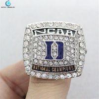 2015 Duke Blue Devils men's basketball national championship ring Black Enamal Crystal Silver Pleated Ring Men Jewelry