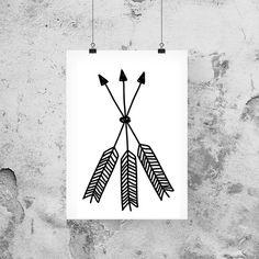 Bohemian Decor Feather Arrows Arrows Greyscale by LUCIAandLUCIANA