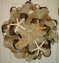 Deco Meash Beach Wreath Seashell Burlap by CarolinaMoonDecor, $65.00