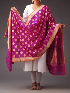Buy Fuschia Golden Silk Georgette Booti Motif Dupatta Accessories Dupattas Kimkhab Banarasi Brocade Sarees Suit Pieces and Blouse Fabrics Online at Jaypore.com