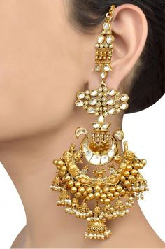 Silver Gold Plated Traditional Multi Jhumki Pearl Crystal Earrings: