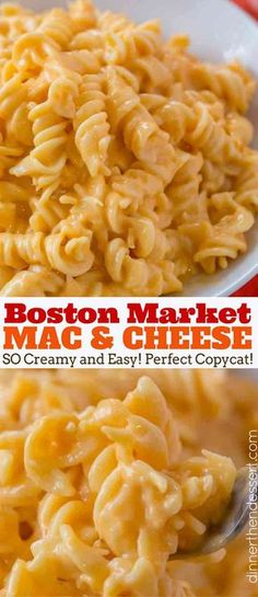 Boston Market Mac and Cheese, made with three cheeses is super creamy and easy to make and the perfect copycat! #macandcheese #bostonmarket #cheesy