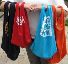 Give up on plastic grocery bags & buying store bags. Repurpose your t-shirts!