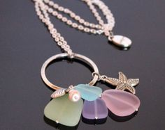 "Seashore 30"" charm necklace with pastel sea glass and starfish charm"