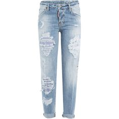 Dsquared2 Distressed Boyfriend Jeans (325 PAB) ❤ liked on Polyvore featuring jeans, pants, bottoms, trousers, blue, blue jeans, torn jeans, boyfriend fit jeans, ripped jeans and dsquared2 jeans