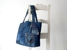 denim bag with lots of pockets and liningjeans bag by Lowieke