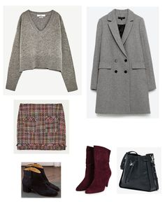 Time for Fashion. Grey sweater+tweed skirt+black ankle boots or burgundy midi ones+grey coat+black bucket bag. Winter Smart Casual Outfit 2017