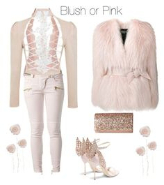 """Blush or Pink Fashion"" by angeladt-1 ❤ liked on Polyvore featuring L'Agent By Agent Provocateur, Balmain, Sophia Webster, Jessica McClintock and blushorpinkcontest"