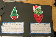 Writing comparing the Grinch (and his heart) at the beginning and end of the story.