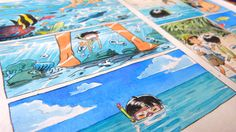 Original watercolor pages from our minicomic The Coral Cave - An Irabucha's Dream. Watercolor And Ink, Watercolor Illustration, Manga Art, Anime Art, Graphic Novel Art, Cartoon Sketches, Comic Panels, Sketchbook Inspiration, Traditional Paintings