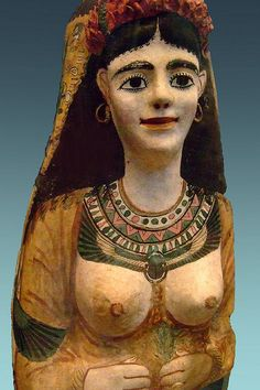 *PAINTED PLASTER CARTONNAGE MASK:    woman from the Roman Period 100-120 CE as suggested by the style of jewelry Egypt