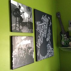 Cool canvas gallery wall for boys room. Take pictures of what they love.