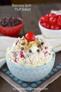 This Banana Split Fluff Salad recipe is an easy to make fruit salad that gets made in one bowl with deliciously sweet ingredients that everyone will LOVE!  via @bestblogrecipes