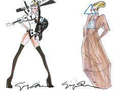 Lady Gaga's Armani outfit sketches for the 'Born This Way Ball' tour!