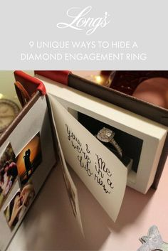 Surprise your loved one with a unique engagement ring box! ♥ An incredible high quality dimensional piece - used to propose or carry your rings Wedding Ring Box, Wedding Rings Vintage, Vintage Engagement Rings, Wedding Bands, Engagement Box, Disney Engagement, Book Proposal, Proposal Ring Box, Our Adventure Book