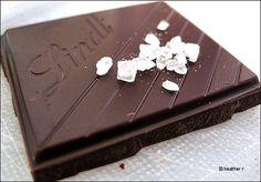 Lindt Excellence A Touch of Sea Salt: Dark Chocolate (47% - not too dark) & 3% Fleur de Sel, a premium French sea salt.  Delicious!