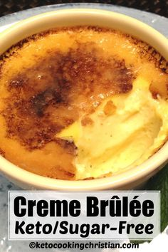 This decadent dessert is every bit as good as the traditional version, complete with the classic crunchy topping! This Keto and Low Carb version is sugar-free, made with Swerve and a healthy amount of vanilla. It's so easy, anyone can make this delicious Sugar Free Desserts, Köstliche Desserts, Low Carb Desserts, Low Carb Recipes, Diet Recipes, Cooking Recipes, Healthy Recipes, Recipes Dinner, Mince Recipes