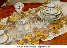 Crockery and glass. Luxury and expensive golden crockery and tableware. Table Settings, Royalty Free Stock Photos, Luxury, Tableware, Glass, Dish Sets, Dinnerware, Drinkware, Tablewares