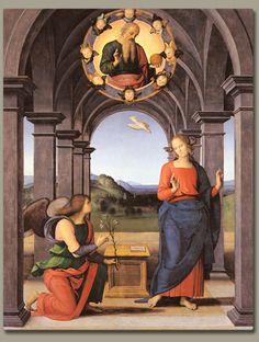 ピエトロ・ペルジーノ(Pietro Perugino)『受胎告知』(Annunciation) 1489 板・油彩 212×172cm サンタ・マリア・ヌオーヴァ教会 in ファーノ(伊マルケ州)