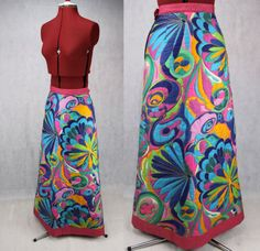 Kitsch Bright Bold Psychedelic Floral Skirt by PatternVintageLondon